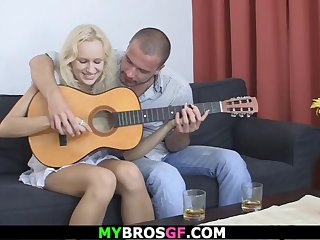 guy finds his blonde gf riding another cock!