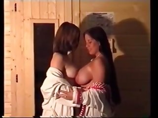 chubby german mother and daughter in sauna