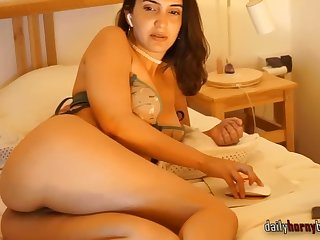 chubby brunette having fun with her vibrator