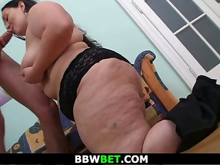 big belly brunette fatty is picked up and fucked