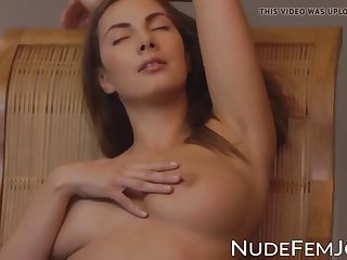 lady with perfect natural tits seducing during pussy play