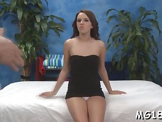 lovely girl is massaging guys