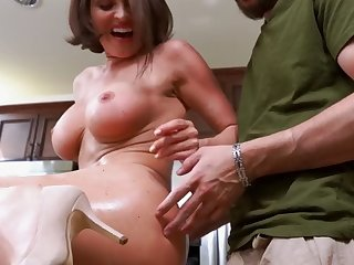 attractive milf's ass drilled by a toy on a drill