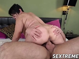 busty matured rides a fat dick with the addition of receives cum on her face