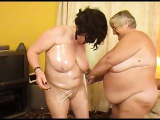 old fat slut with girlfriend wrapped in cling cagoule